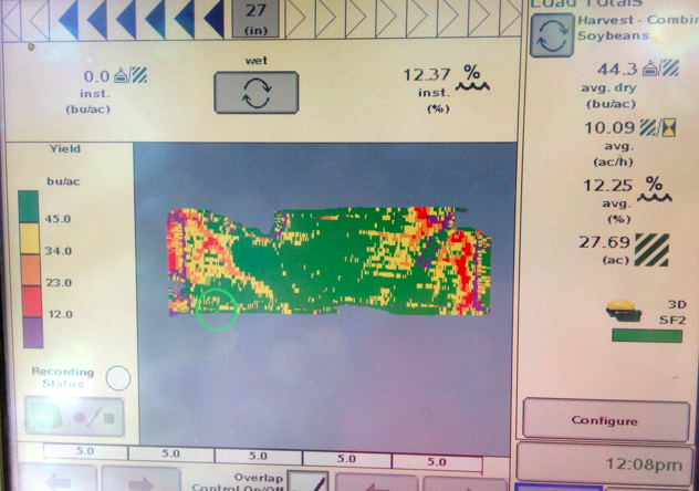 yield map 30 acres soybeans