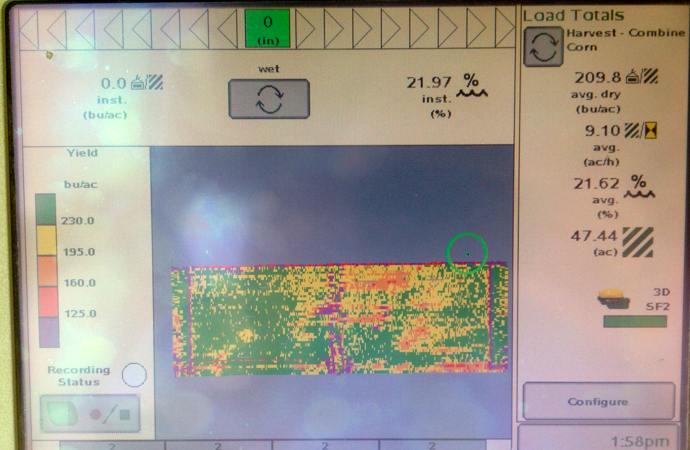 yield map corn 50 acres